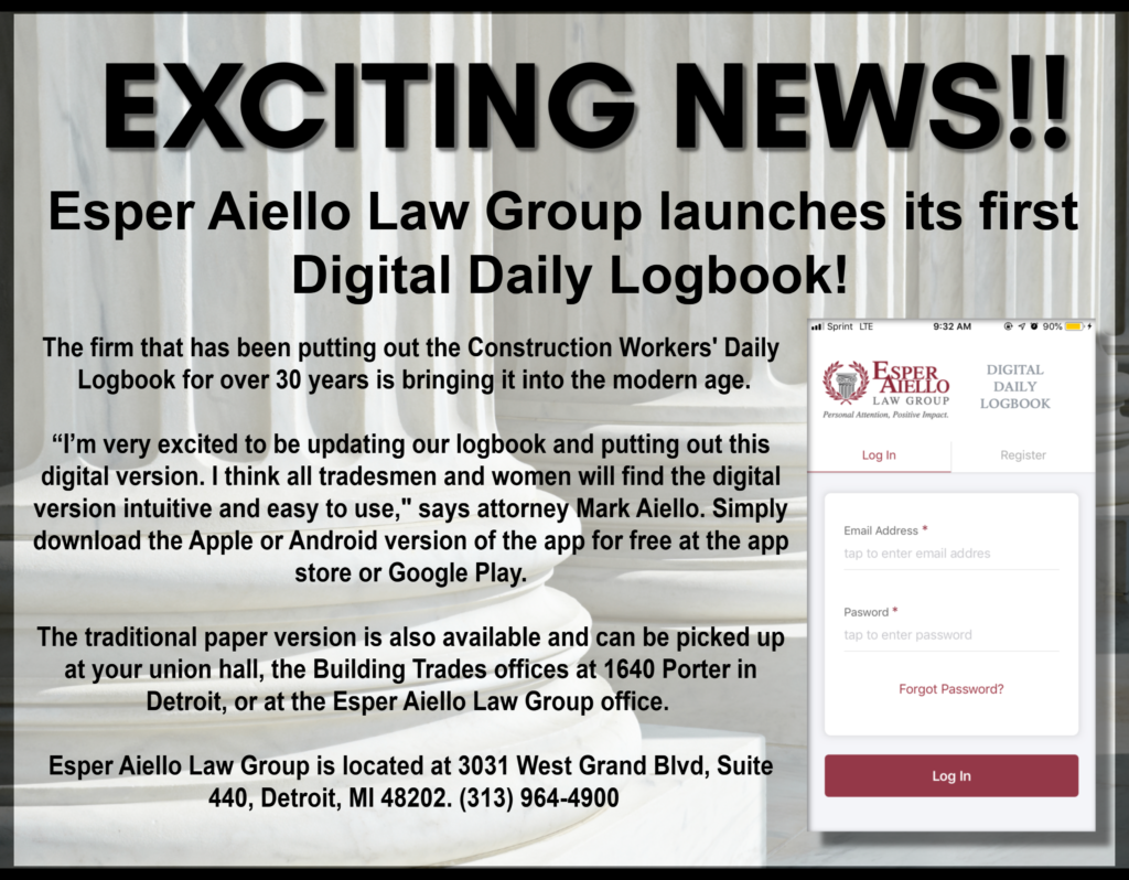 Esper Aiello Law Group Launches Secure Daily Logbook App for Construction Trades