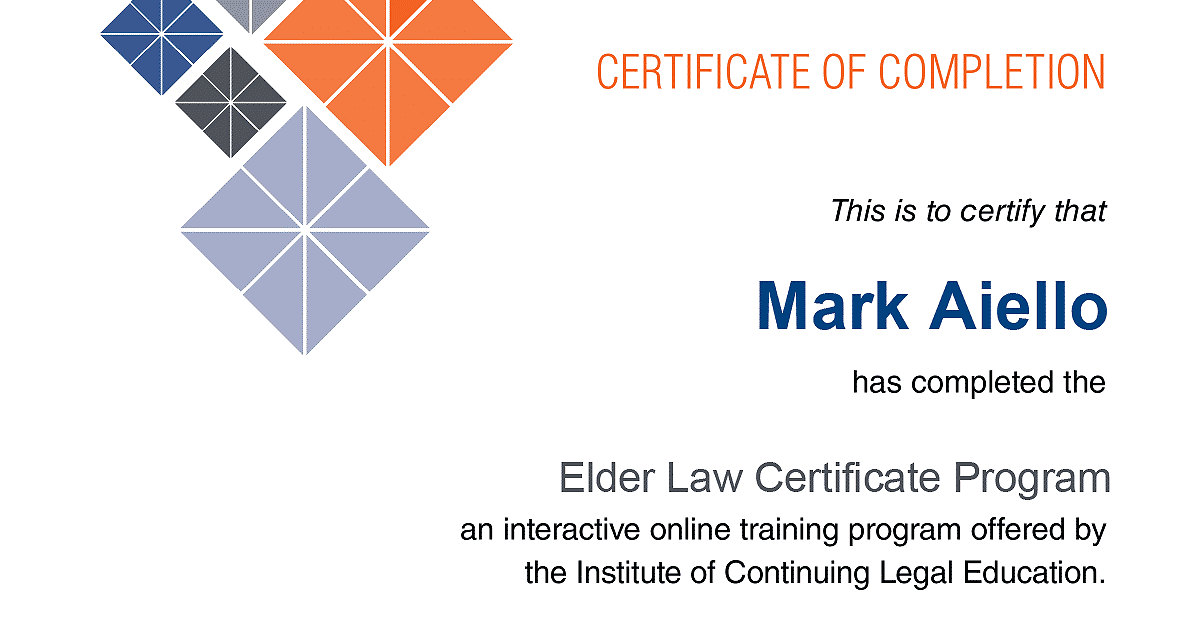 Mark Aiello Completed the ICLE Elder Law Certificate Program